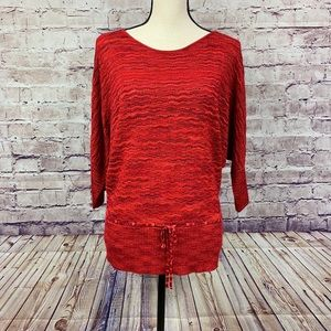 Hannah Red Knit 3/4 Sleeve Sweater